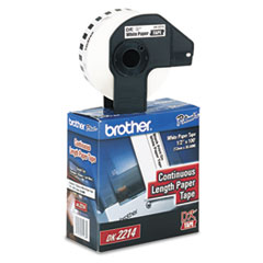 Brother P-Touch DK2214: DK2214 Continuous Length Paper Tape 0.47 Width x 100 ft Length Rectangle Direct Thermal White 1 / Roll