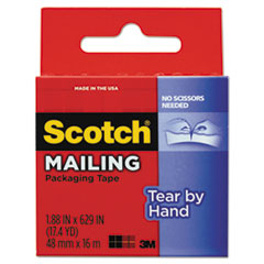 Scotch 3841: Tear-By-Hand Packaging Tapes, 1.5 Core, 1.88 X 17.5 Yds, Clear