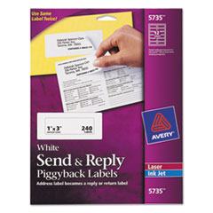 Avery 5735: Send Reply Piggyback Mailing Labels, 1 x 3, Pack of 240 5735 1 5/8 Width x 4 Length Inkjet, Inkjet White 240 / Pack
