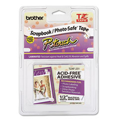 Brother P-Touch TZEAF231: TZ PHOTO-SAFE TAPE CARTRIDGE for P-TOUCH LABELERS, 0.47 x 26.2 FT, BLACK ON WHITE