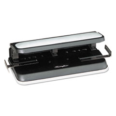 Swingline 74300: 32-Sheet Easy Touch Two-To-Three-Hole Punch, 9/32 Holes, Black / gray