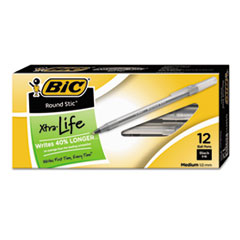 BIC GSM11BK: Round Stic Xtra Life Stick Ballpoint Pen, 1Mm, Black Ink, Smoke Barrel, Dozen