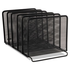 Rolodex 22141: Mesh Stacking Sorter, Five Sections, Metal, 8 1/4 x 14 3/8 x 7 7/8, Black