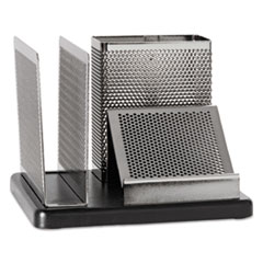 Rolodex E23552: Distinctions Desk Organizer, 5 7/8 x 5 7/8 x 4 1/2, Metal / black