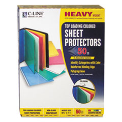 C-Line 62010: Colored Polypropylene Sheet Protectors, Assorted Colors, 2, 11 X 8 1/2, 50 / Bx