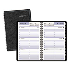 DayMinder G21000: BLOCK FORMAT WEEKLY APPOINTMENT BOOK with CONTACTS SECTION, 4 7/8 x 8, BLACK, 2019