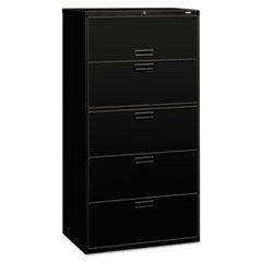 HON 585LP: 500 Series Five-Drawer Lateral File, 36W X 18D X 64.25H, Black