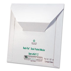 Quality Park 64112: Redi-File Disk Pocket / Mailer, Cd / Dvd, Square Flap, Perforated Flap Closure, 6 X 5.88, White, 10 / Pack