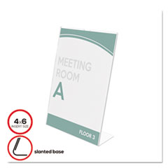Deflect-o 590401: Superior Image Slanted Sign Holders 1 Each 6 Width x 4 Height Top Loading Plastic Clear