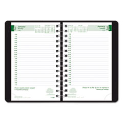Brownline CB410WBLK: Recycled Ecologix Daily Planner Julian January 2019 till December 2019 7 00 AM to 7 30 PM 1 Day Single Page Layout 5 x 8 Twin Wire Black Paper Address Directory, Phone Directory..