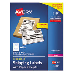 Avery 5127: Shipping Labels with paper Receipt, Trueblock, 5 1/16 x 7 5/8, White, 50 / pack