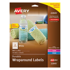 Avery 22845: Durable Water-Resistant Wraparound Printer Labels, 9 3/4 x 1 1/4, White, 40 / pack
