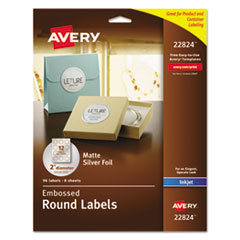 Avery 22824: Matte Embossed Foil Round Labels Permanent Adhesive 2 Diameter Circle Inkjet Silver 12 / Sheet 120 / Pack