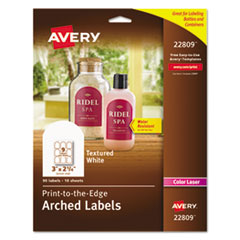 Avery 22809: Textured Arched Print-To-The-Edge Labels, 3 x 2 1/4, White, 90 / pack