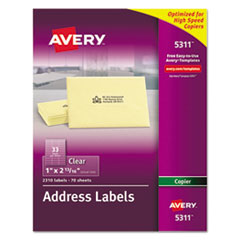 Avery 5311: Copier Mailing Labels, Copiers, 1 X 2.81, Clear, 33 / Sheet, 70 Sheets / Pack