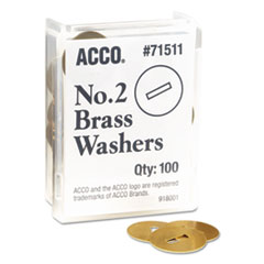 ACCO 71511: WASHERS for TWO-PRONG FASTENERS, 2, 1.25 DIAMETER, BRASS, 100 / BOX