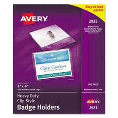 Avery 2923: Heavy-Duty Clip-Style Badge Holders, Horizontal, 4 X 3, Clear, 100 / Box