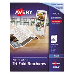 Avery 8324: Tri-Fold Brochures, 92 Bright, 83Lb, 8.5 X 11, Matte White, 100 / Pack