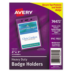 Avery 74472: Secure Top Heavy-Duty Badge Holders, Vertical, 3w x 4h, Clear, 25 / pack