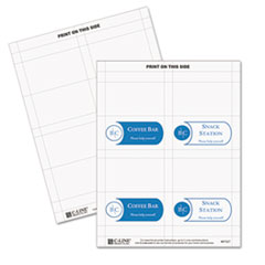 C-Line 87527: Scored Tent Cards, White Cardstock, 3 1/2 x 2, 4 / sheet, 40 Sheets / bx