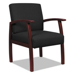 Alera RL7611M: Alera Reception Lounge 700 Series Guest Chair, 25.25 X 26.5 X 35, Black Seat / Mahogany Back, Mahogany Base
