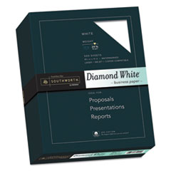 Southworth 3122410: 25 Cotton Diamond White Business Paper, 95 Bright, 24 Lb, 8.5 X 11, 500 / Ream