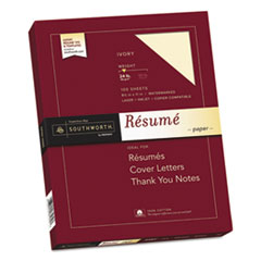 Southworth R14ICF: 100 Cotton Resume Paper, Ivory, 24lb, 8 1/2 x 11, Wove, 100 Sheets