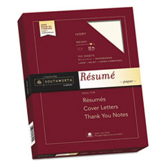 Southworth RD18ICF: 100 Cotton Resume Paper, 32lb, 8 1/2 x 11, Ivory, Wove, 100 Sheets