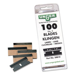 Unger SRB10: Safety Scraper Replacement Blades 9 1.25 Length Rust Resistant, Self-sharpening 100 / Pack Steel Gray
