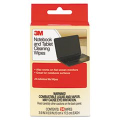 3M CL630: Notebook Screen Cleaning Wet Wipes, Cloth, 7 x 4, White, 24 / pack