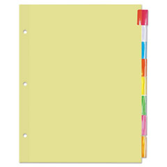 Universal 20840: Economical Insertable Index, Multicolor Tabs, 8-Tab, Letter, Buff, 24 Sets / box