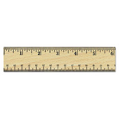 Universal 59021: Flat Wood Ruler with double Metal Edge, 12, Clear Lacquer Finish
