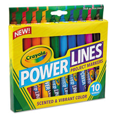 Crayola 588194: Power Lines 10-color Project Markers Brown, Red, Blue, Violet, Black, Yellow, Magenta, Light Blue, Green, Orange Burst 10 / Pack