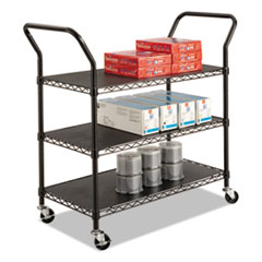 Safco 5338BL: Wire Utility Cart, Three-Shelf, 43.75W X 19.25D X 40.5H, Black