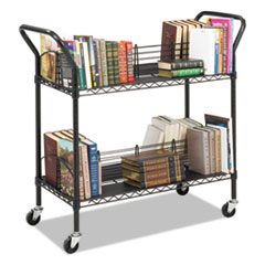 Safco 5333BL: Wire Book Cart, Steel, Four-Shelf, 44w x 18-3/4d x 40-1/4h, Black