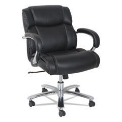 Alera MS4619: Alera Maxxis Series Big Tall Leather Chair, Supports Up To 350 Lbs., Black Seat / Black Back, Chrome Base
