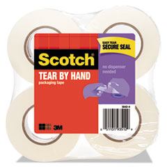 Scotch 38424: Tear-By-Hand Packaging Tapes, 1.5 Core, 1.88 X 50 Yds, Clear, 4 / Pack
