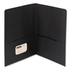 Smead 87853: Two-Pocket Folder, Textured Paper, Black, 25 / box