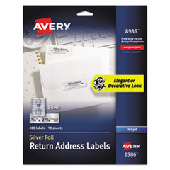 Avery 8986: Foil Mailing Labels 3/4 Width x 2 1/4 Length Rectangle Inkjet Silver 30 / Sheet 300 / Pack