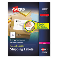 Avery 55164: REPOSITIONABLE SHIPPING LABELS with SUREFEED, LASER, 3 1/3 x 4, WHITE, 600 / BOX