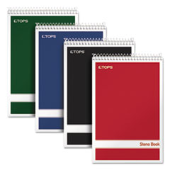 TOPS Products 80220: Steno Book, Gregg Rule, Assorted Covers, 6 X 9, 80 White Sheets, 4 / Pack