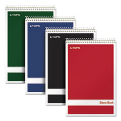 TOPS Products 80221: Steno Book, Gregg Rule, Assorted Covers, 6 X 9, 80 Green Tint Sheets, 4 / Pack
