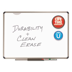 Quartet P567T: Prestige Plus DuraMax Porcelain Magnetic Dry-Erase Board 72 6 ft Width x 48 4 ft Height White Porcelain Surface Titanium Aluminum Frame Rectangle Horizontal 1 / Each TAA Compliant