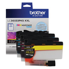 Brother LC30333PKS: Lc30333Pks Inkvestment Super High-Yield Ink, 1500 Pg-Yield, Cyan / Magenta / Yellow