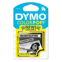 DYMO 2056085: Colorpop Label Maker Tape, 0.5 X 10 Ft, Black On Silver