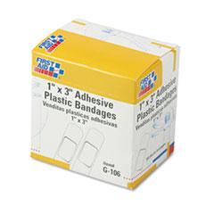First Aid Only G106: Plastic Adhesive Bandages, 1 x 3, 100 / box