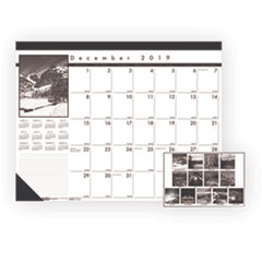 House of Doolittle 122: Black White Calendar Desk Pads Julian Dates Monthly 1.1 Year December 2020 till December 2021 1 Month Single Page Layout 22 x 17 Sheet Size 2.75 x 2.25 Block Desk Pad Blac..