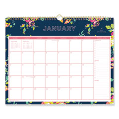 Blue Sky 103627: Day Designer Navy Floral Wall Calendar Julian Dates Monthly 1 Year January 2020 till December 2021 Wire Bound Multi, Navy, Floral Paper 12 Height x 0.5 Width Bleed Resistant, Fo..
