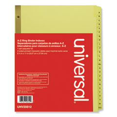 Universal 20812: DELUXE PREPRINTED PLASTIC COATED TAB DIVIDERS with BLACK PRINTING, 25-TAB, A TO Z, 11 x 8.5, BUFF, 1 SET