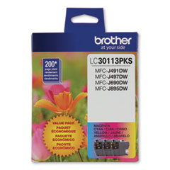 Brother LC30113PKS: Lc3011 Ink, 200 Page-Yield, Cyan / Magenta / Yellow, 3 / Pack